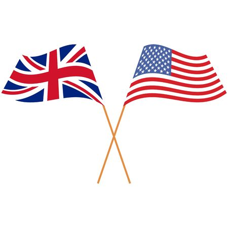 United Kingdom(UK), United States of America(USA). National flags. Abstract concept, icon set. Vector illustration on white background.