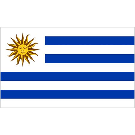 Oriental Republic of Uruguay. National flag, icon. Vector illustration on white background.