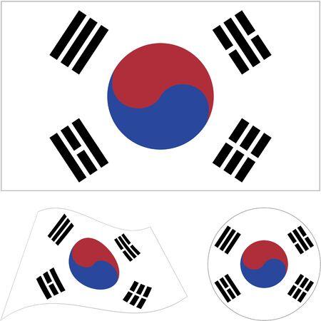 Republic of Korea. National flag, icon set. Vector illustration on white background.
