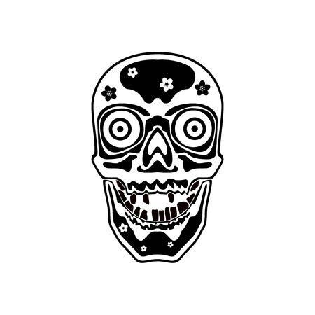 Mexican sugar skull. Abstract concept, icon. Vector illustration on white background. Illusztráció