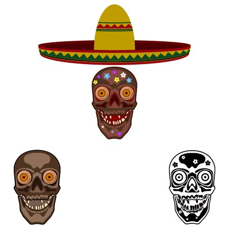 Mexican sugar skull. Abstract concept, icon set. Vector illustration on white background.