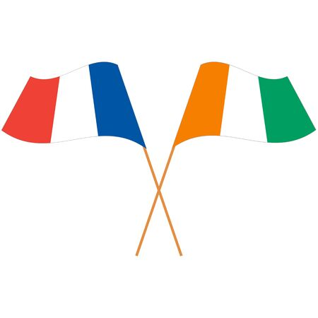 French Republic, Republic of Côte dIvoire . National flags, icon set. Vector illustration on white background.