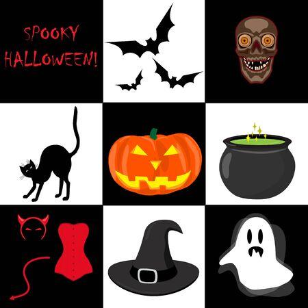 Halloween icons set. Ghost, bat, cat, cauldron of magic potion, witch hat, pumpkin lantern, skull. Vector illustration on white background.