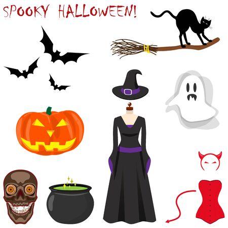 Halloween icons set. Ghost, bat, cat, broom, cauldron of magic potion, witch hat, pumpkin lantern, skull. Vector illustration on white background.