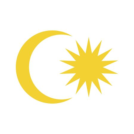 Elements of the flag of Malaysia. Crescent and a 14-point star. Abstract concept, icon. Vector illustration on white background.