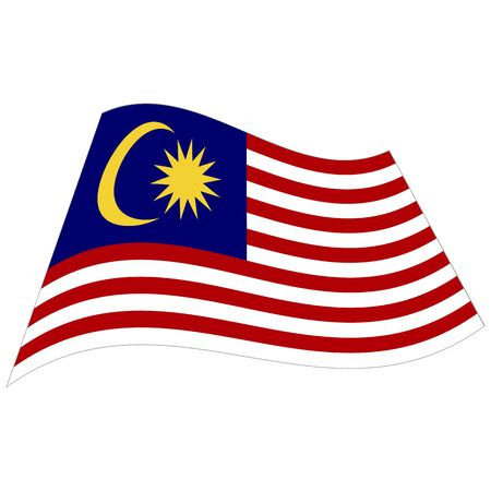 Malaysia. National flag. Abstract concept, icon. Vector illustration on white background.