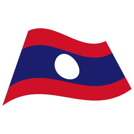 Lao Peoples Democratic Republic(Laos). National flag. Abstract concept, icon. Vector illustration on white background. Ilustração