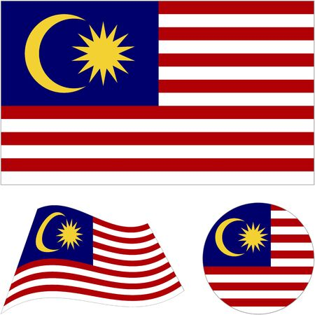 Malaysia. National flag. Abstract concept, icon set. Vector illustration on white background.