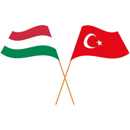 Hungary, Republic of Turkey. National flags. Abstract concept, icon set. Vector illustration.
