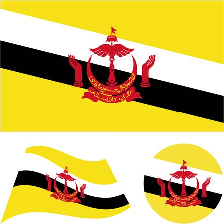 Nation of Brunei, the Abode of Peace. National flag, icon set. Vector illustration on white background.