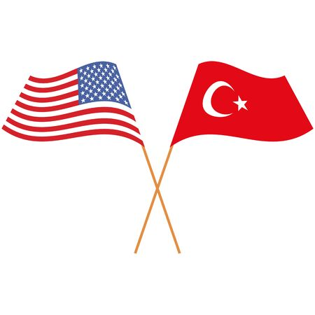 United States of America, Republic of Turkey. National flags, icon set. Vector illustration on white background.