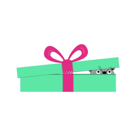 Gift box with an unknown living creature inside. Surprise concept, icon. Vector illustration on white background.