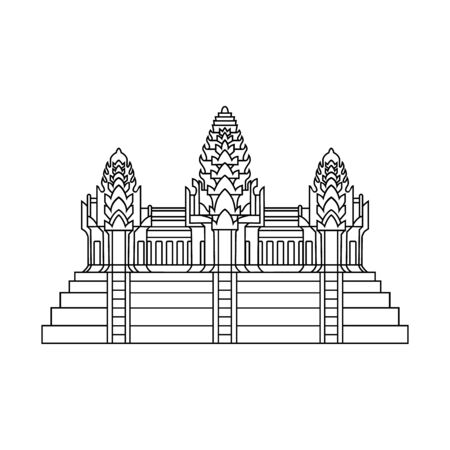Element of the flag of Cambodia. Angkor Wat. Abstract concept, icon. Vector illustration on white background. Illustration