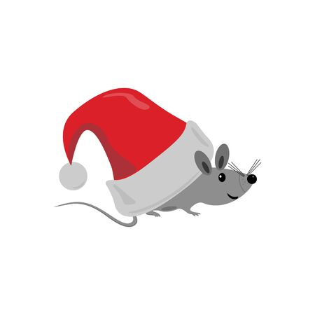 Christmas Santa Claus hat, mouse. Abstract concept, icon. Vector illustration on white background.