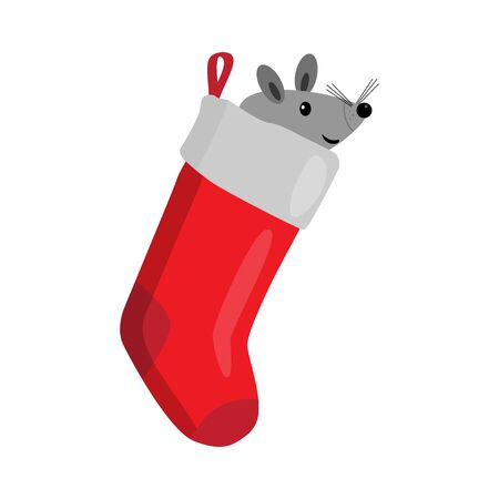 Christmas Sock with mouse. Surprise concept, icon. Vector illustration on white background.