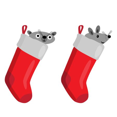 Christmas Sock with mouse. Surprise concept, icon set. Vector illustration on white background. Ilustração