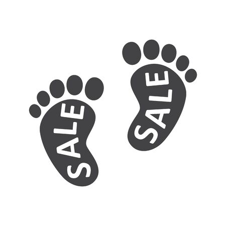 Footprints, barefoot, human. The inscription SALE inside the foot. Abstract concept, icon. Vector illustration on white background.