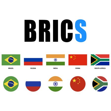 BRICS countries. National flags, icon set. Vector illustration on white background.