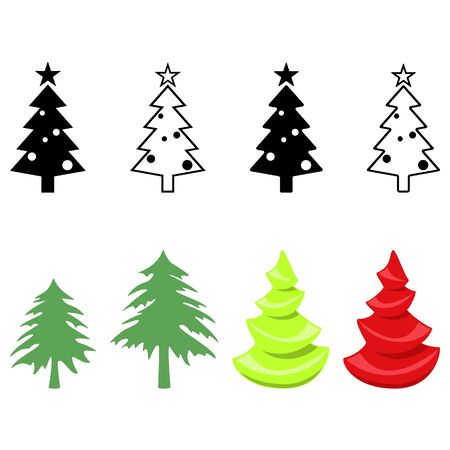 Christmas tree. Abstract concept, icon set. Vector illustration on white background. Ilustração