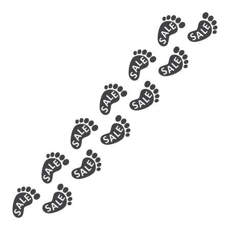 Footpath trail of human. Imprints of bare feet with the inscription SALE. Abstract concept, icon set. Vector illustration on white background.