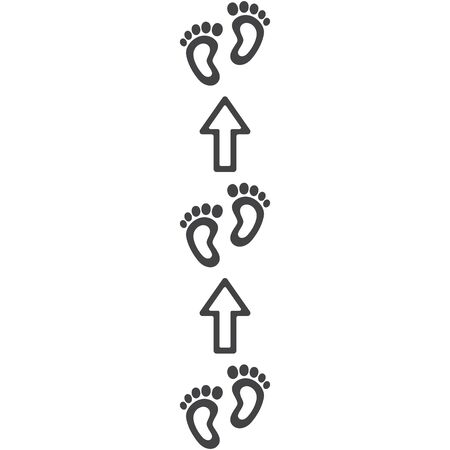 Footpath trail of human. Imprints of bare feet, arrows direction indicators. Abstract concept, icon set. Vector illustration on white background.