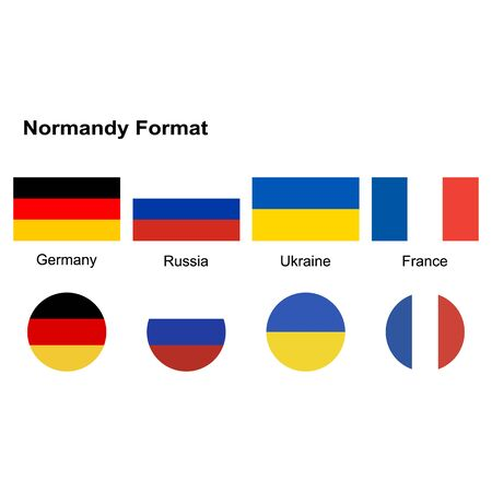 Normandy Four countries(Normandy Format). Germany, Russia, Ukraine, France. National flags, icon set. Vector illustration on white background.