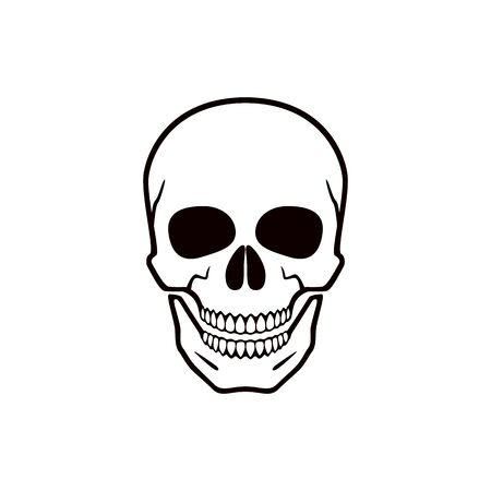 Human skull. Symbol of danger. Abstract concept, icon. Vector illustration on white background.