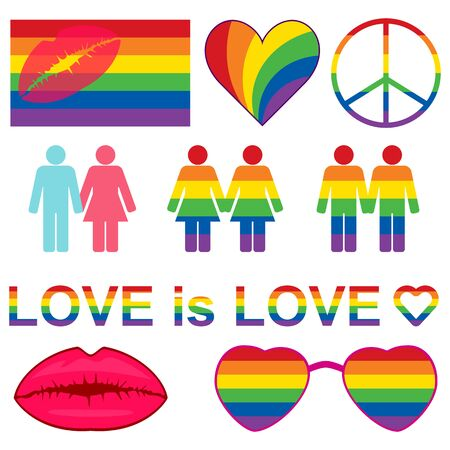 Rainbow LGBT rights icons and symbols. LGBT figures and heterosexual couple. Equality symbols. Love is love slogan. Vector illustration. 向量圖像