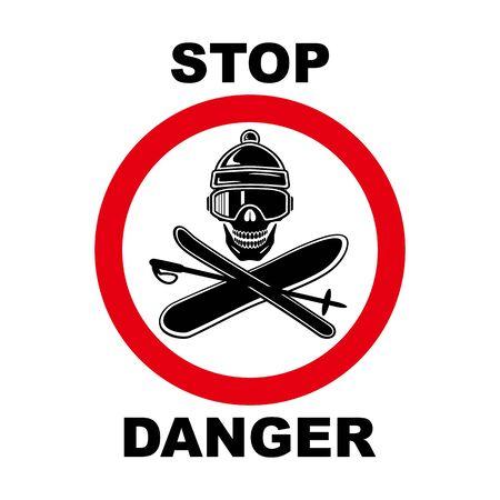 Danger sign. Ski, snowboard, hat, glasses, skull, inscription DANGER. Abstract concept, icon. Vector illustration.