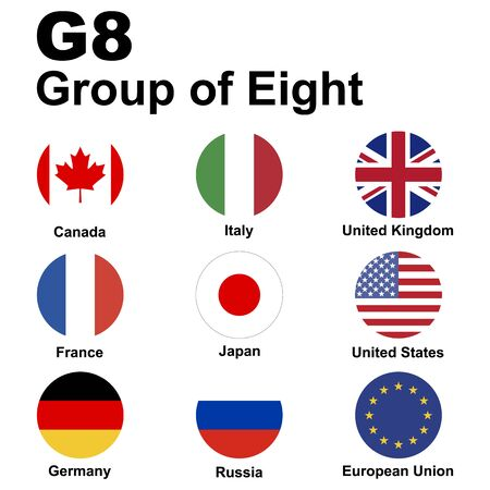 G8 (Group of Eight). Flags of member countries, icon set. Vector illustration.