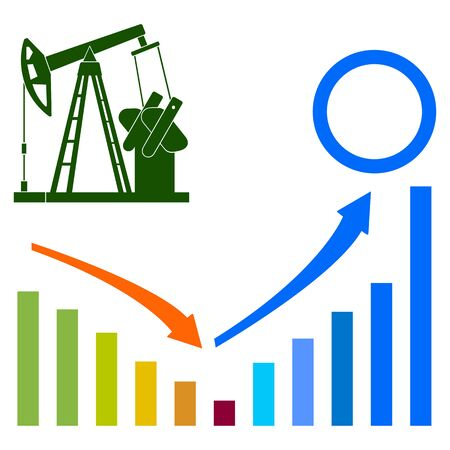 Oil pumpjack, infographic elements. Abstract concept, icon set. Vector illustration. Ilustração