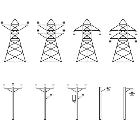 Electric tower. Electricity icons suitable for info graphics, websites and print media and interfaces. Vector illustration.