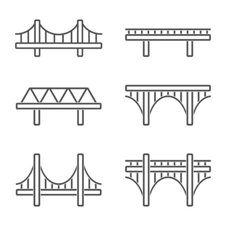 Bridge. Abstract concept, icon set. Vector illustration.