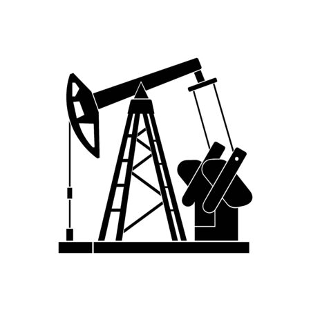 Oil pumpjack. Abstract concept, icon. Vector illustration.
