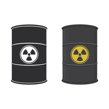 Barrel of radioactive substance. Abstract concept, icon set. Vector illustration.