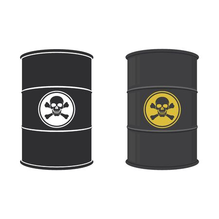 Barrel of toxic substance. Abstract concept, icon set. Vector illustration.