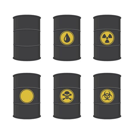 Barrel, icon set. Vector illustration.