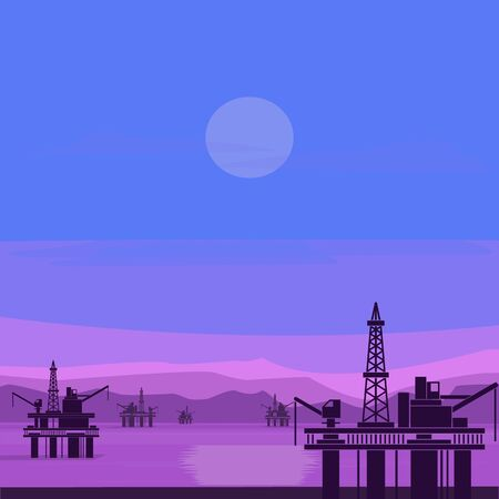 Nature landscape. Sea, mountains and oil platforms. Vector illustration.