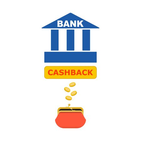 Bank icon, opened purse, rain of gold coins, the inscription CASHBACK. Abstract concept, icon set. Vector illustration. Illustration