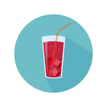 Glass with red beverage, ice and straw. Abstract concept, icon. Vector illustration. Foto de archivo - 135432013