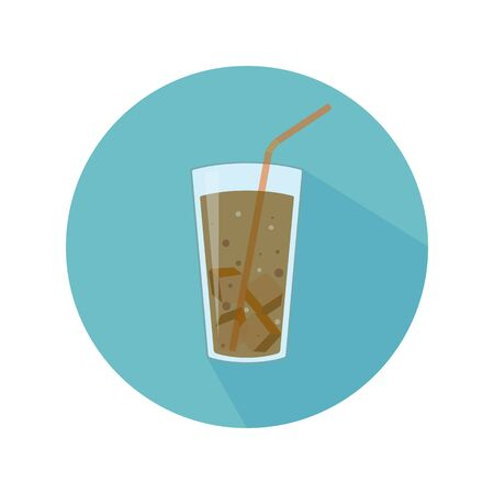 Glass with brown beverage, ice and straw. Abstract concept, icon. Vector illustration.