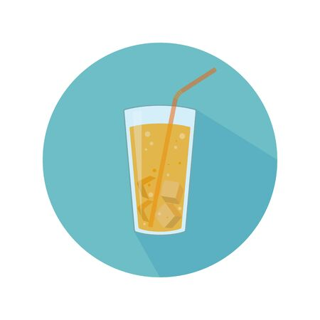 Glass with yellow beverage, ice and straw. Abstract concept, icon. Vector illustration.