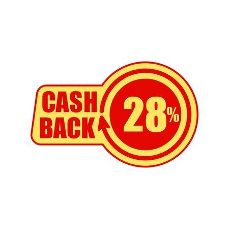 Cashback twenty eight percent. Concept for sticker, tag, label, infographic element. Vector illustration.