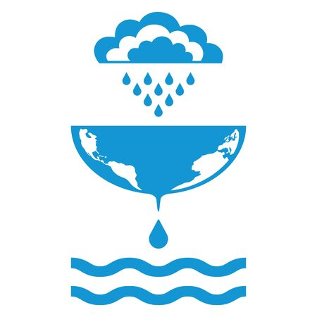 Symbols of clouds, rain, drops, world map, waves. Ecology concept and save water resources. Vector illustration.