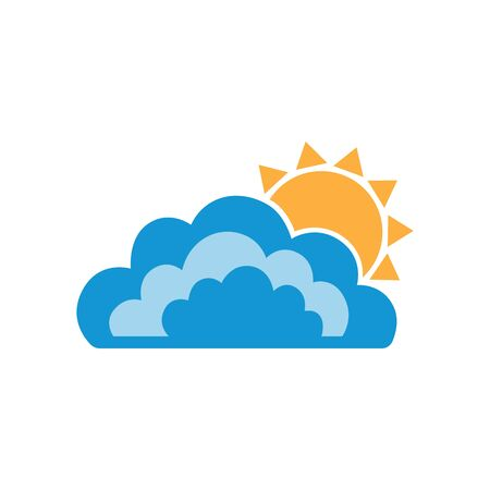 Symbols of sun and clouds. Abstract concept, icon. Vector illustration.