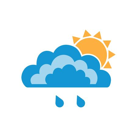 Symbols of clouds, sun and light rain. Abstract concept, icon. Vector illustration. Illustration