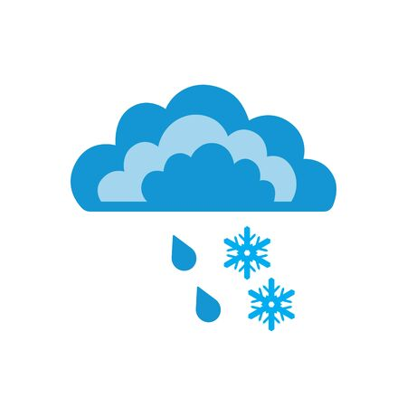Symbols of clouds and rain with snow. Abstract concept, icon. Vector illustration.