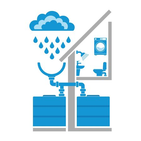 Symbols of clouds, rain, drops, system of rain water harvest. Concept of eco house. Vector illustration. Illustration