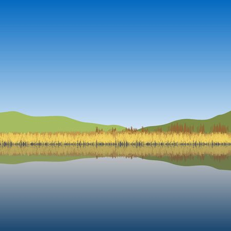 Nature landscape. Lake, hills, reeds, trees. Vector illustration.