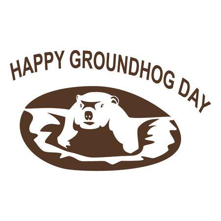 Inscription Happy Groundhog Day, groundhog(marmot) comes out of the hole. Vector illustration. Ilustração